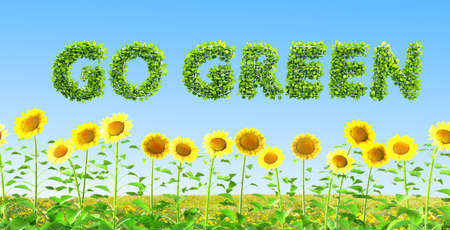 go green ecology concept 3D illustration