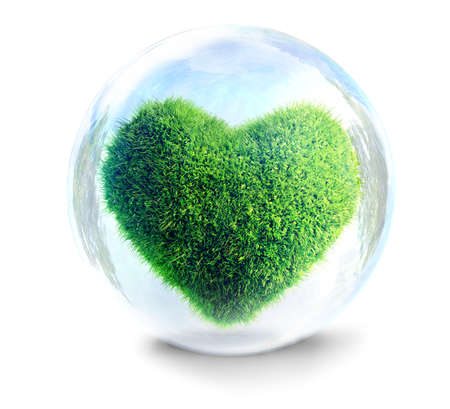 grass heart in glass bubble a fragile ecology concept 3D illustration