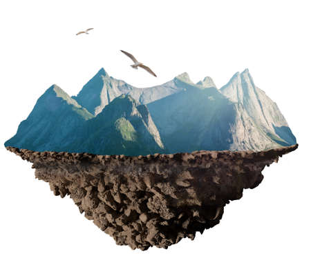 mountain plate, geology concept 3D illustration