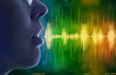 woman speaking, voice recognition concept Archivio Fotografico