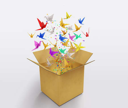 origami birds abstract concept of think out of the box and creativity 3D illustration Stock Photo
