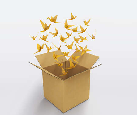 origami birds abstract concept of think out of the box and creativity 3D illustration Stok Fotoğraf