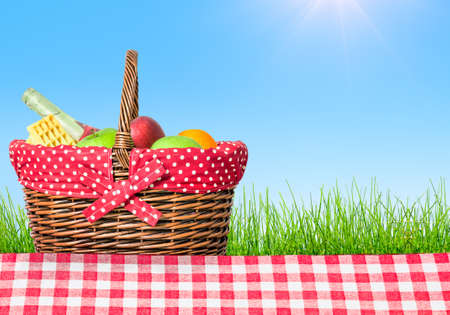 picnic table covered with checkered tablecloth and picnic basket Banco de Imagens
