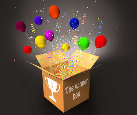 winner box with confetti and colorful balloons, win and prizes concept 3D illustration Фото со стока - 129237913