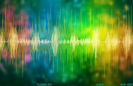 voice recognition waveform and spectrum illustration Banco de Imagens