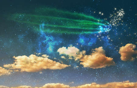 night sky background with stars, comet and clouds Banco de Imagens