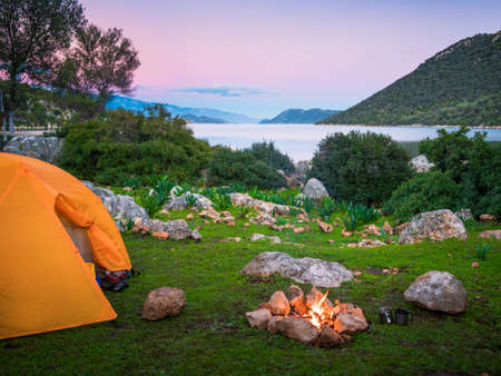 camping with fire and tent at night on Lycian Way, Turkey Banco de Imagens