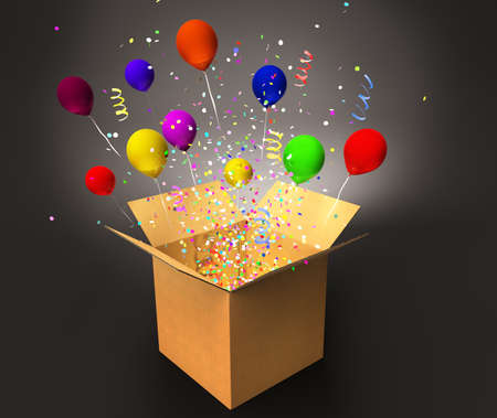 open magic box with confetti and colorful balloons, win and prizes concept 3D illustration