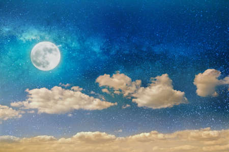 night sky background with stars, moon and clouds Banco de Imagens