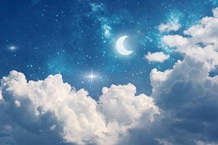 fantasy night sky background with stars, moon and clouds