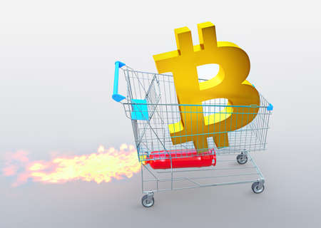 golden bitcoin icon on trolley with rocket, price rises concept, 3D illustration