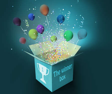 winner box with confetti and colorful balloons, win and prizes concept 3D illustration Фото со стока - 129237966