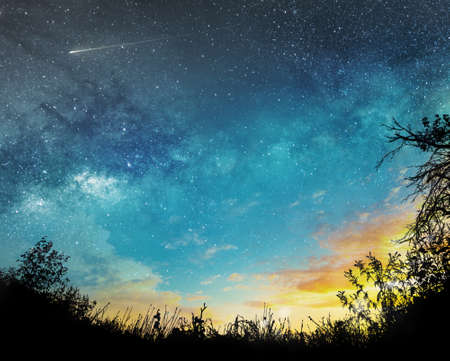sunset to night sky background with stars, comet and clouds