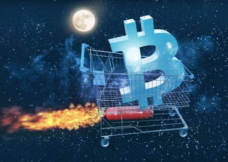 bitcoin price rises and going to the moon concept, 3D illustration Banco de Imagens