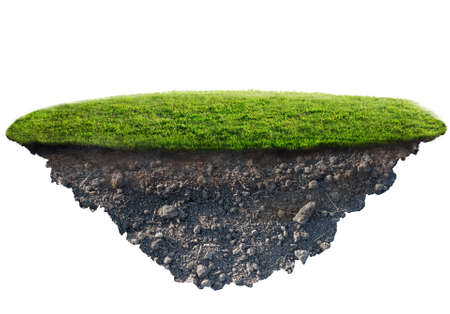 green grass island on white background 3d illustration