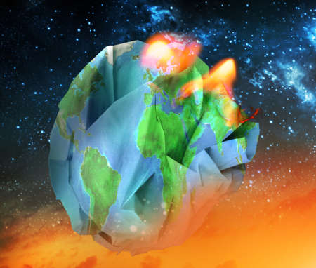 Global warming and apocalypse concept 3D illustration.