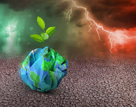 Earth ecology and recycle concept. Global warming concept.