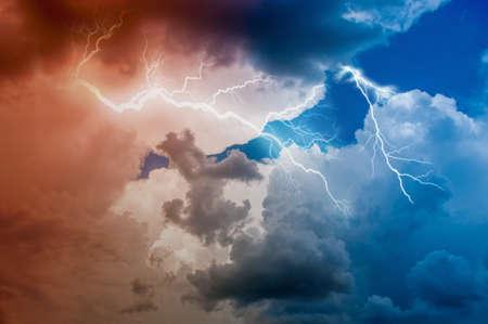 thunderstorm lightning bolt, stormy clouds