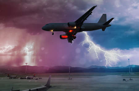 Bad weather and storm with lightning at airport Stock fotó