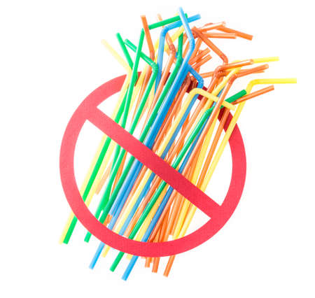 ban single use plastic and disposable straws, recycling of plastics and garbage concept