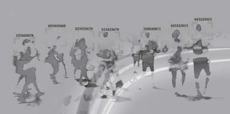 face recognition technology concept illustration of big data and security in city with crowd