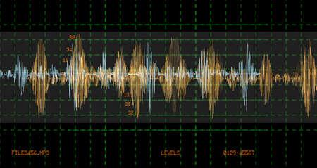 Audio waveform scientific technology background, sample of voice recognition concept illustration