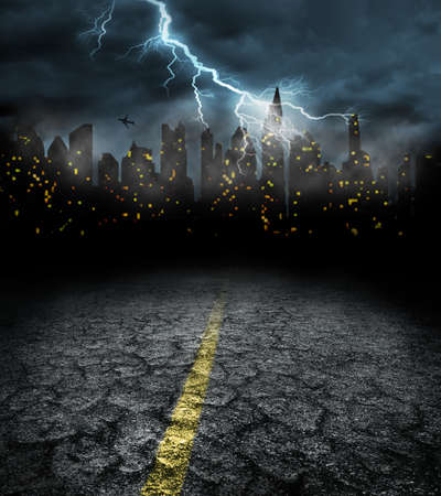 city lights in night and dramatic storm weather Stok Fotoğraf