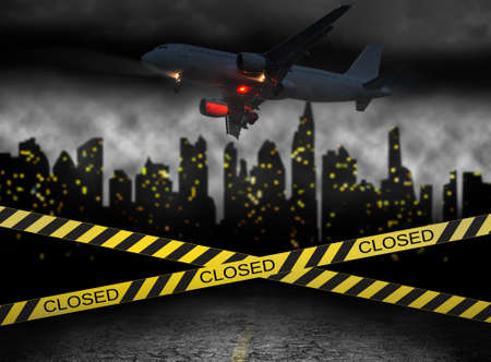 city closed under quarantine concept with plane