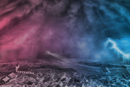 flood  in the city and storm in the sea, Judgment Day concept