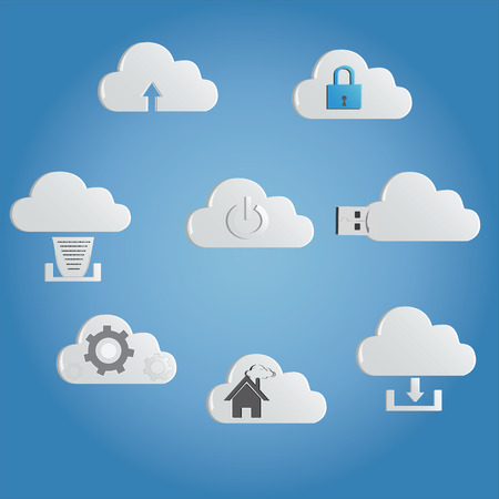 latest: latest technology cloud computing networking icons Illustration