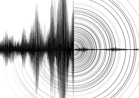 Kracht van aardbevingsgolf met cirkelvibratie op wit papier achtergrond Vector Illustratie