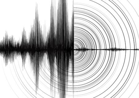 Power of Earthquake Wave with Circle Vibration on White paper background