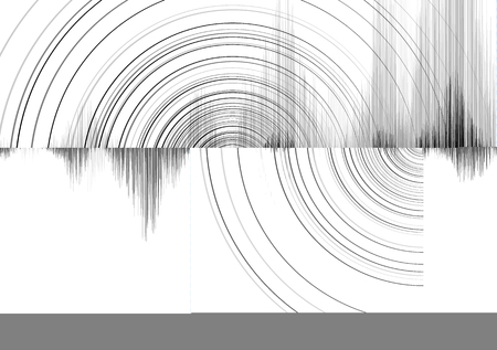 Super Earthquake Wave with Circle Vibration on White paper background