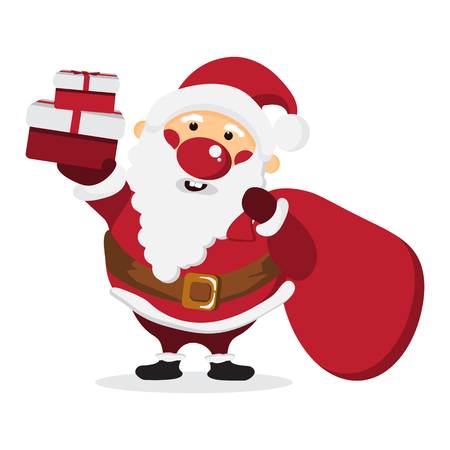 Cute Cartoon Santa Claus with a bag of gift on white isolated background,happy character concept,design for Christmas card and poster,illustration,vector.