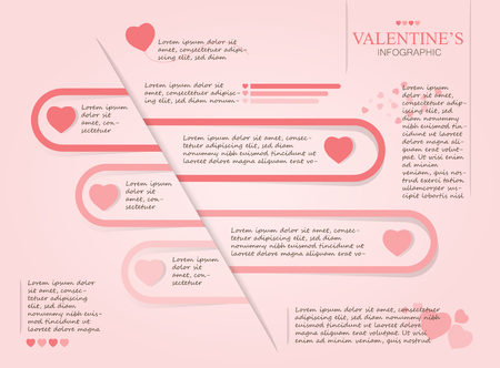 Valentines day info graphic template, lovely heart and chart concept, design for business and presentation, with space and text input vector illustration. Illustration
