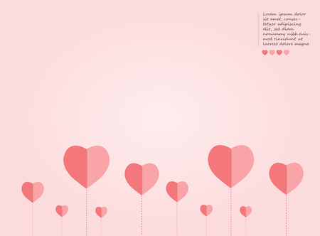 Cute Pink Valentines day background, lovely heart and chart concept, design for business and presentation, with space and text input vector illustration.