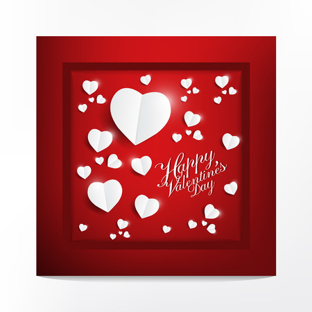 Modern greeting card with happy valentines day typography design, light white heart paper cut style on red background, poster and wedding card concept vector illustration.