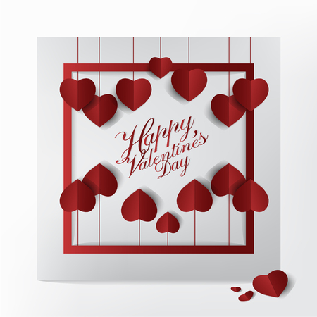 Modern getting card with happy Valentines day typography design, red heart balloon paper cut style on White background, modern and lovely card concept vector illustration.
