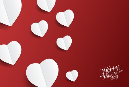 Fond de Saint-Valentin avec beaucoup d'art en papier coeurs; illustration vectorielle Banque d'images - 94102798