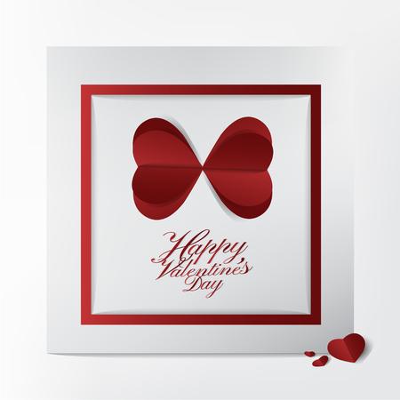 Carte de voeux classique avec conception de typographie Happy Valentines Day et style de papier découpé papillon coeur rouge sur fond blanc; concept de carte moderne et belle. Banque d'images - 94102818