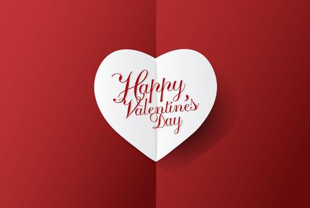 Contexte moderne de la Saint-Valentin avec art de papier coeur blanc; illustration vectorielle Banque d'images - 94102977