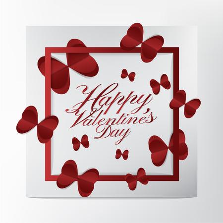 Belle carte de voeux avec conception de typographie Happy Valentines Day et style de papier découpé papillon coeur rouge sur fond blanc; concept de carte moderne et belle. Banque d'images - 94102978