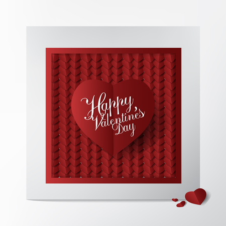 Modern Classic greeting card with Happy Valentines Day Typography design and White and red Heart Paper Cut on White background;  Business and Lovely card concept.  イラスト・ベクター素材