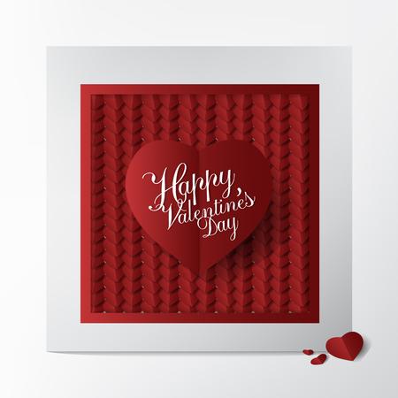 Carte de voeux classique moderne avec conception de typographie Happy Valentines Day et papier coeur blanc et rouge coupé sur fond blanc; Concept de cartes d'affaires et belle. Banque d'images - 94102979