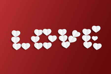 Valentines day background with LOVE text design and hearts paper art; vector illustration. Illustration