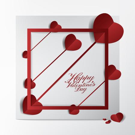 Conception moderne de cartes et de typographie pour la Saint-Valentin, papier Super Arrow Red Heart Paper Cut sur fond de cadre, concept heureux et charmant. Banque d'images - 94102986