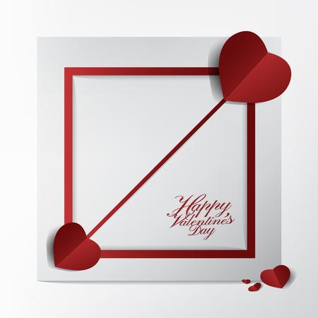 Classique Saint Valentin carte et conception de la typographie, flèche rouge coeur papier couper le style sur fond de cadre, concept heureux et charmant. Banque d'images - 94104816