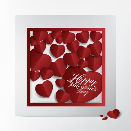 Conception de cartes et de typographie de Saint Valentin moderne, style coeur rouge en papier coupé sur fond de cadre, concept heureux et charmant. Banque d'images - 94104819