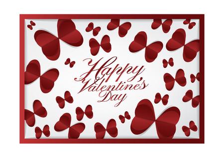 Fond de typographie de valentines heureux avec coeur rouge de papier découpé style de coupe sur le thème , carte moderne et bon concept de carte . Banque d'images - 94104822