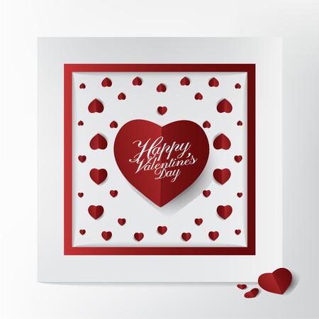 Belle carte de Saint Valentin et conception de la typographie, style mini papier coeur rouge coupe sur fond de cadre, concept de carte moderne et belle. Banque d'images - 94104823